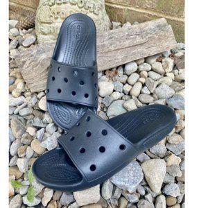 Crocs Black Slide Sandals Iconic Mens 7 Womens 9